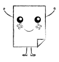 Document paper kawaii character vector