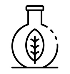 Eco leaf in flask icon outline style vector