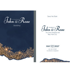 elegant wedding invitation gold shining card vector image