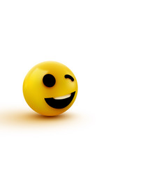 emoji yellow winking face funny cartoon emoticon vector image