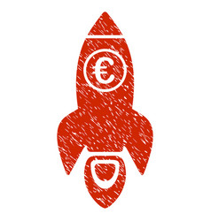 Euro rocket launch icon grunge watermark vector