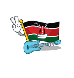 Flag kenya mascot in shape character with guitar vector