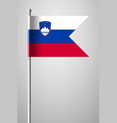 Flag of slovenia national flag on flagpole vector