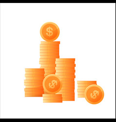 flat golden coins with dollar sign vector image