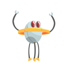 funny cartoon robot character with three legs vector image