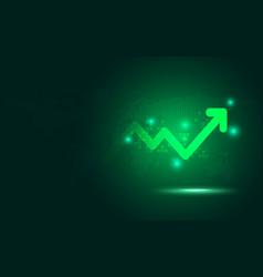 Futuristic green raise arrow chart digital vector