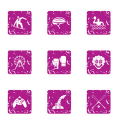 Game dependency icons set grunge style vector