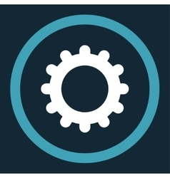 Gear flat blue and white colors rounded vector