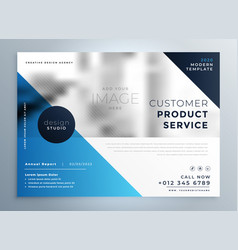 geometric blue professional brochure design vector image