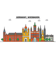 Germany wiesbaden city skyline architecture vector