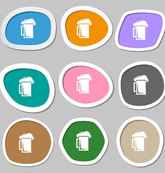 glass of beer icon symbols Multicolored paper vector image