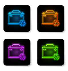 glowing neon car battery with recycle icon vector image