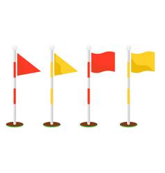 golf flagsticks set cartoon icon symbols vector image