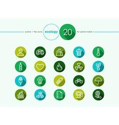 Green environment flat icons set vector