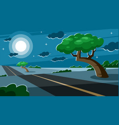 Growing tree near a road at night vector