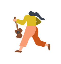 guitarist with acoustic guitar back view funny vector image
