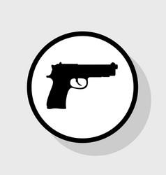 gun sign flat black icon in vector image