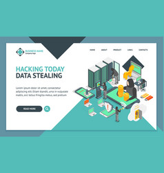 hacker landing web page template 3d set isometric vector image