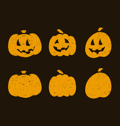 halloween scary pumpkins on dark background vector image