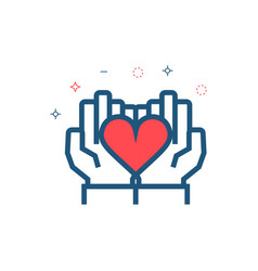hands and heart icon charity vector image