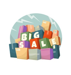 Heap of boxes with Big Sale text vector image