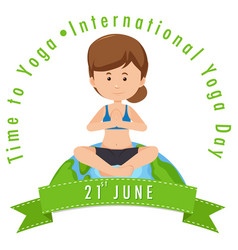 International yoga day june 21 banner with woman vector