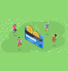 Isometric flat concept loyality program vector