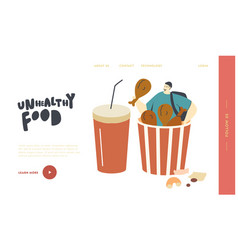 Junk meal unhealthy nutrition obesity landing vector