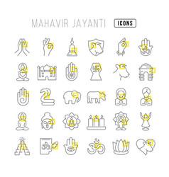 line icons mahavir jayanti vector image