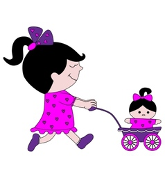 Little girl with a doll and stroller vector