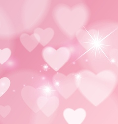 Love Abstract Background with Hearts and Bokeh vector image