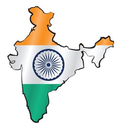 map india with flag vector image