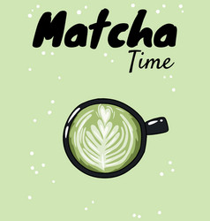 Matcha time cup green coffee hand drawn vector