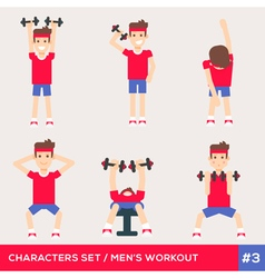 men workout set3 vector image