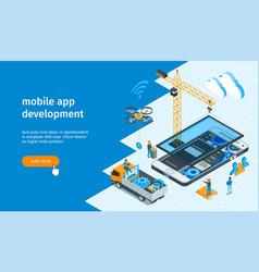 mobile app development banner 02 vector image