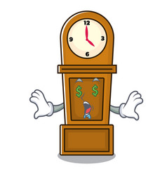 Money eye grandfather clock mascot cartoon vector