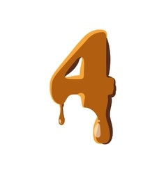 Number 4 from caramel icon vector image
