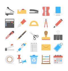 Office and stationery flat icons set vector