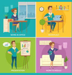 office worker 4 cartoon icons vector image