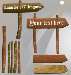 Old wooden sign set vector image