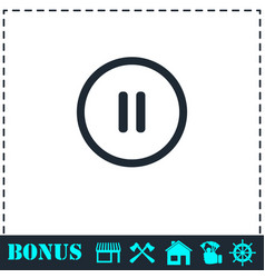 pause button icon flat vector image