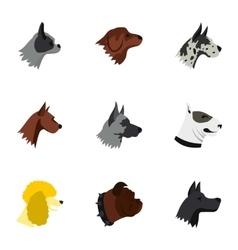 Pet dog icons set flat style vector image