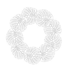 philodendron monstera leaf wreath outline vector image