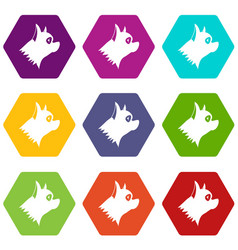 pinscher dog icon set color hexahedron vector image