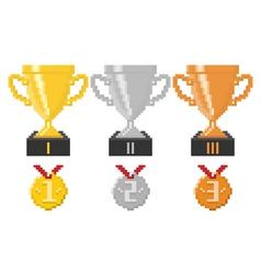 Pixel trophy cups and medals vector