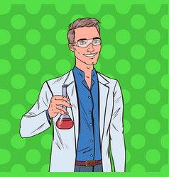 pop art man scientist with flask male researcher vector image