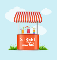 realistic detailed 3d street fast food market vector image