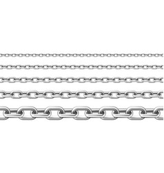 Realistic seamless metal chain with silver links vector