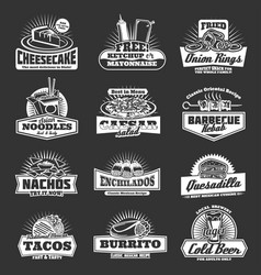 restaurant of fast food snacks monochrome icons vector image