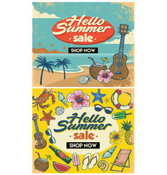 Retro summer flyer design vector